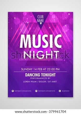 Creative shiny Flyer, Banner or Pamphlet design design for Musical Party celebration. - stock vector