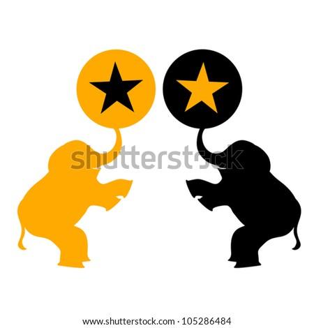 Creative show elephants - stock vector