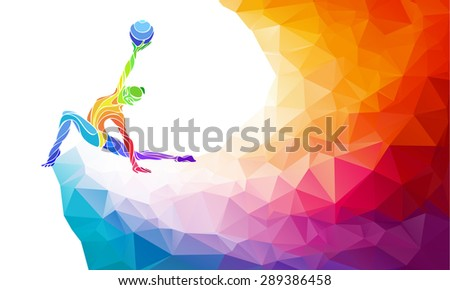 Creative silhouette of gymnastic girl. Art gymnastics with ball, colorful vector illustration with background or banner template in trendy abstract colorful polygon style and rainbow back - stock vector