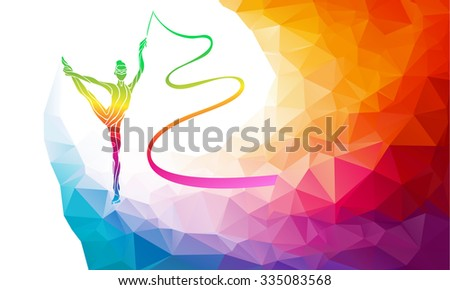 Creative silhouette of gymnastic girl. Art gymnastics with ribbon, colorful vector illustration with background or banner template in trendy abstract colorful polygon style and rainbow back - stock vector