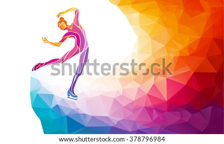 Creative silhouette of ice skating girl on multicolor back - stock vector