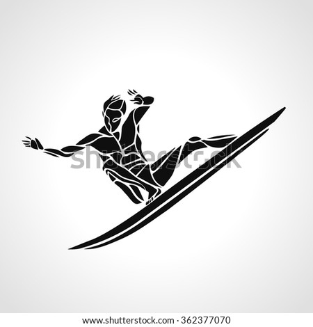 Creative silhouette of surfer. Water sports logo. Vector illustration - stock vector