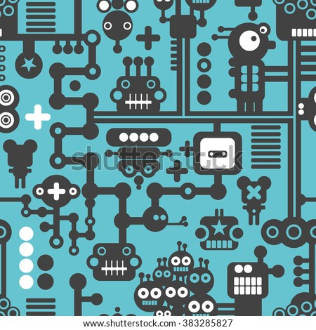 Creative simple background with small robots. Vector seamless pattern.