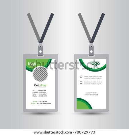 Creative Simple Green Id Card Design Stock Vector 780729793 ...