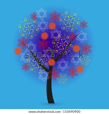Creative snowflakes tree on blue background. Eps 10 - stock vector