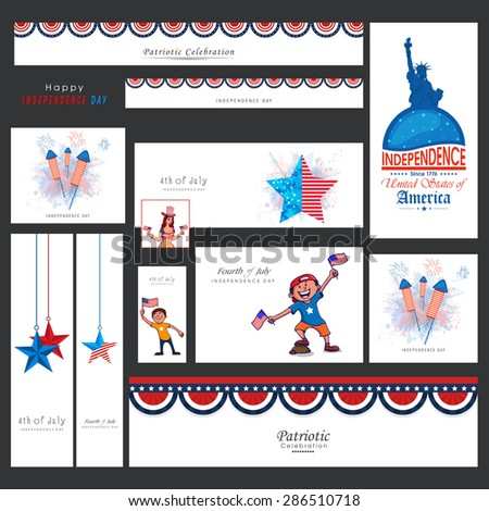Creative social media and marketing web headers, ads, post or banners for 4th of July, American Independence Day celebration. - stock vector
