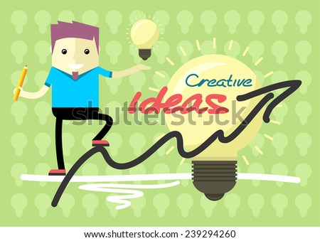 Creative solutions from theory to practice. Man holding in hand lightbulb and is on graph schedule flat cartoon design style - stock vector