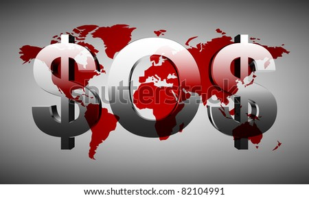 Creative sos-inscription (of the dollars signs) on a background map of the world - stock vector