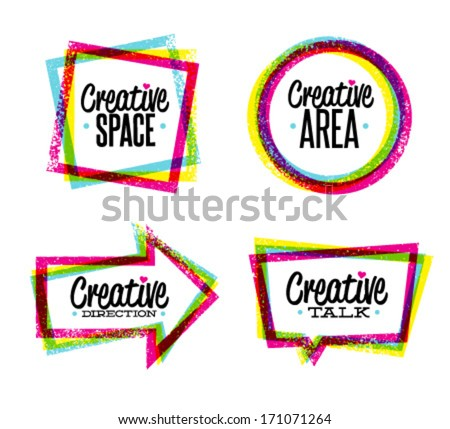 Creative space, art, direction, talk vector grunge icons set. outstanding bright design elements set - stock vector