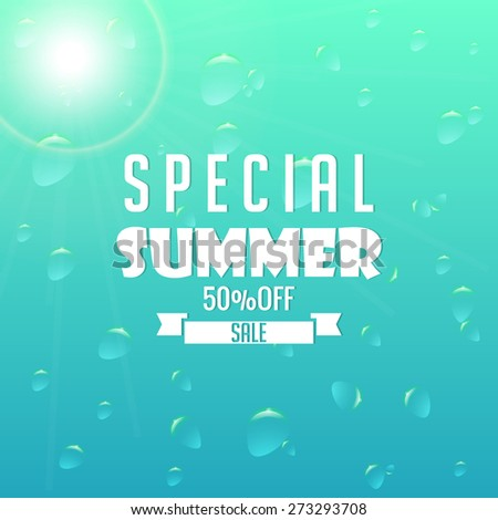 Creative Special Summer 50% Sale tag with nice blue colour bubbly background. - stock vector