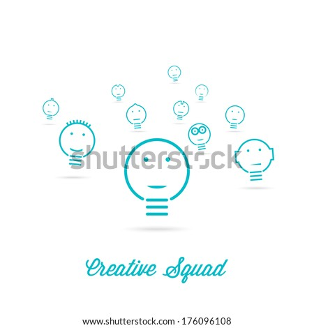 Creative Squad. Ideas bulb. Vector design.  - stock vector