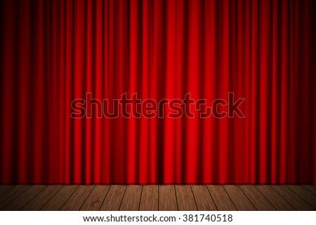 Creative stage with red curtain. Vector illustration for your design - stock vector