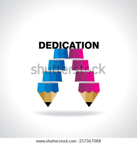 creative stair pencil top of the dedication idea concept  - stock vector