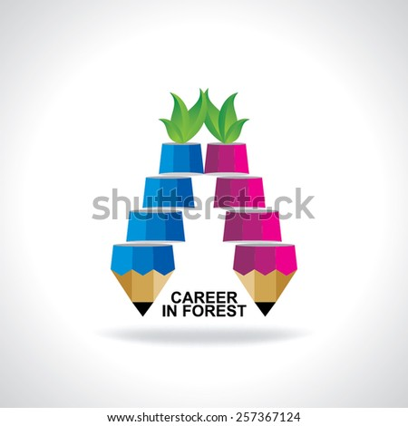 creative stair pencil top of the green leaf idea concept  - stock vector