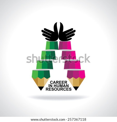 creative stair pencil top of the hands idea concept  - stock vector