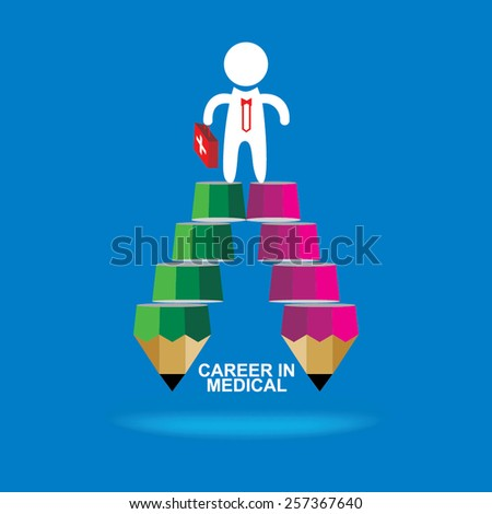 creative stairs pencil top of the medical student idea concept  - stock vector