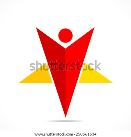 creative star shape men icon design concept vector - stock vector