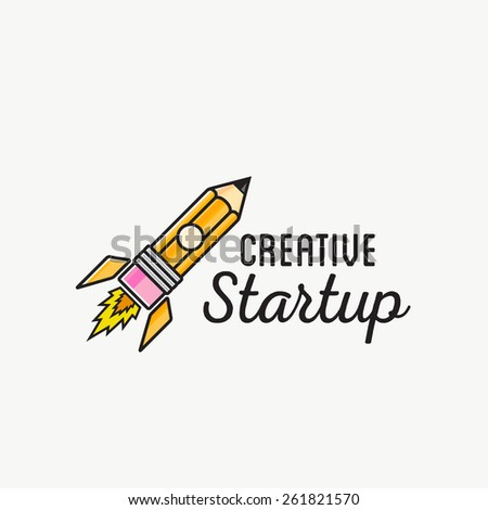 Creative Startup Rocket Abstract Vector Logo Template or Label, Badge. Isolated Pencil-Rocket Illustration. - stock vector