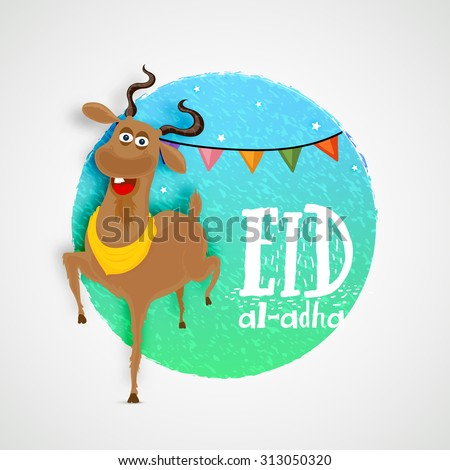 Creative sticky design with goat on stylish background for Islamic Festival of Sacrifice, Eid-Al-Adha celebration. - stock vector
