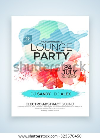 Creative stylish one page Flyer, Banner or Template for Lounge Party celebration with date and time details. - stock vector