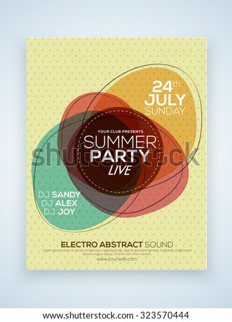 Creative stylish Summer Party celebration one page Flyer, Banner or Template with date and time details. - stock vector