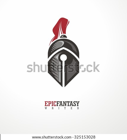 Creative symbol concept with knight and pen. Logo design layout for epic fantasy genre writer or publisher. Book lovers icon template. - stock vector