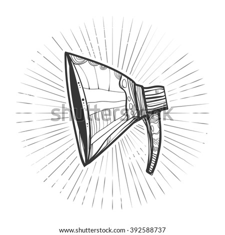 Creative symbol. Cute megaphone for your design and advertising.