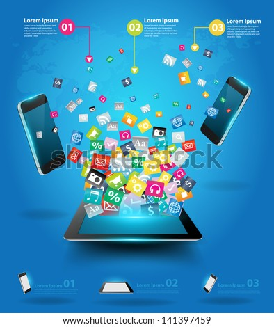 Creative tablet computer with mobile phones cloud of colorful application icon, Business software and social media networking online store service concept, Vector illustration modern template design
