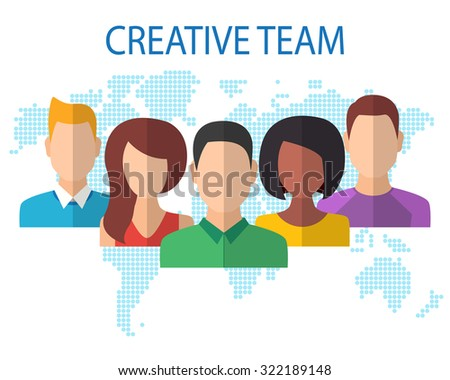 Creative Team Concept. Flat Style Modern Design. Vector Illustration