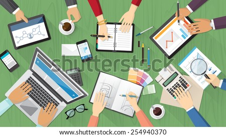 Creative team desktop top view with computer, tablets, stationery and people working together - stock vector
