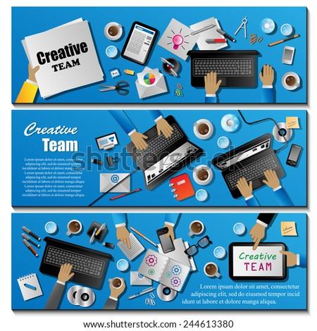 Creative Team Flyer Template Set - Vector Illustration, Graphic Design, Editable For Your Design   - stock vector