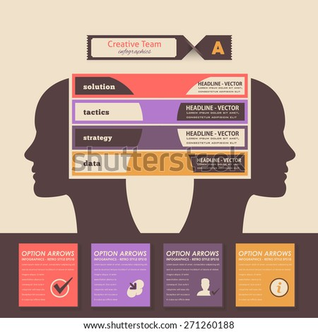 Creative Team Infographics, Human Heads Business Concept Vector Design - stock vector