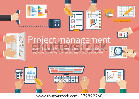 Creative team, vector. Business meeting, teamwork, brainstorming. Flat design style. Top view of the creative team work, discussion, decision analysis, planning, strategy. Concept of business meetings - stock vector