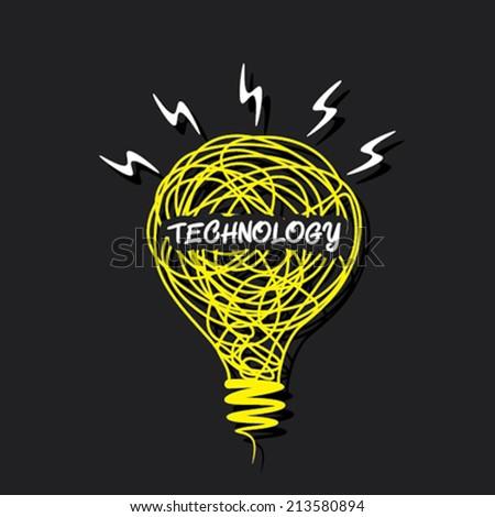 creative 'technology' word concept on sketch bulb design vector - stock vector