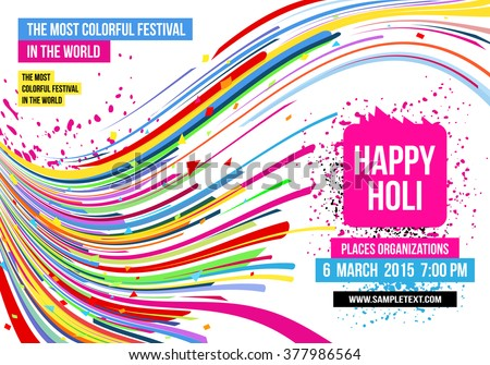Creative template for Indian festival Happy Holi celebrations with multi color splash and strips on white background. Beautiful Indian festival Happy Holi. - stock vector