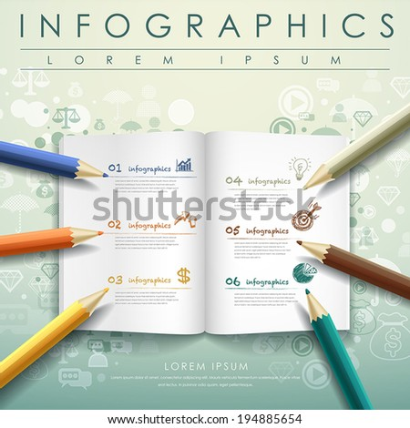 creative template with colored pencil and book, can be used for infographics and banners, concept vector illustration - stock vector