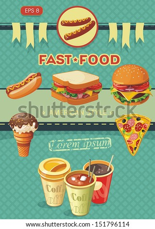 Creative Template with fast food concept. Vector illustration - stock vector