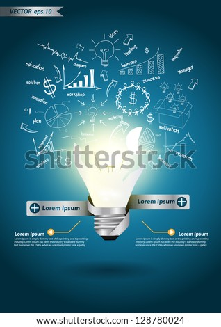 Creative Template with idea light bulb broken, With Modern Design template / infographics  drawing business strategy plan concept idea - stock vector