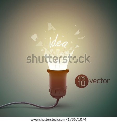 Creative template with light bulb. Vector Illustration, eps 10, contains transparencies. - stock vector