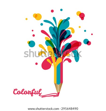 Creative template with pencil and colorful splashes around. Can be used for infographics, banners, concept vector illustration - stock vector