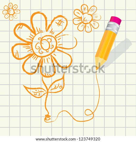 creative template with pencil and hand drawn flower art concept vector illustration. valentines day card.  creative love concept - stock vector