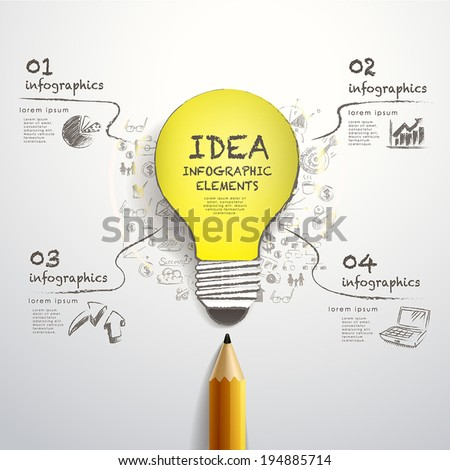 creative template with pencil and hand drawn paper-cut bulb, can be used for infographics and banners, idea concept vector illustration - stock vector