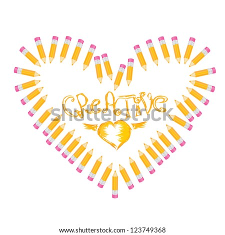 creative template with pencil and heart art concept vector illustration. love illustration. - stock vector