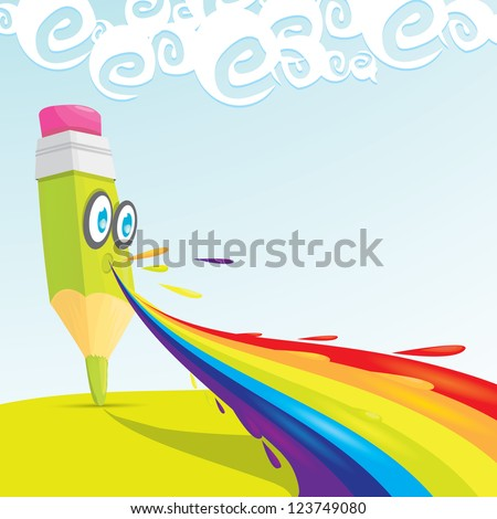 creative template with pencil and rainbow art concept vector illustration.  crayon rainbow burps - stock vector