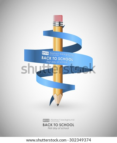 Creative template with pencil and spiral ribbon. Background  for back to school, can be used for infographics and banners, concept vector illustration. First day of school. Back to school - stock vector