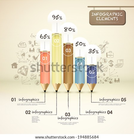 creative template with pencil bar chart, can be used for infographics and banners, idea concept vector illustration - stock vector