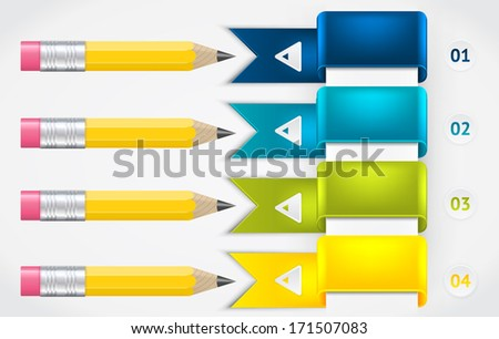 Creative Template with pencil ribbon banner. Elements of infographic. Modern vector design template. Arrows elements. Banner elements.