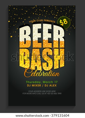 Creative text Beer Bash on shiny background, can be used as Pamphlet, Banner or Flyer design for St. Patrick's Day Party celebration. - stock vector
