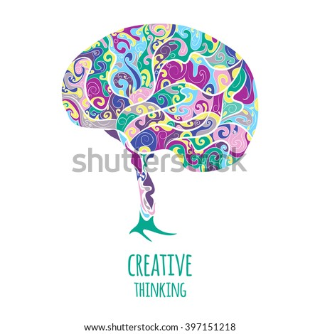 Creative thinking. Brain - stock vector