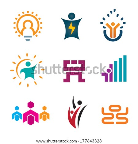 Creative thinking idea people of new age technology logotype construction and app play development icon set logo - stock vector